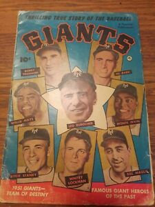 Thrilling True Story of the Baseball Giants 10c Vintage Comic NY Giants 1952