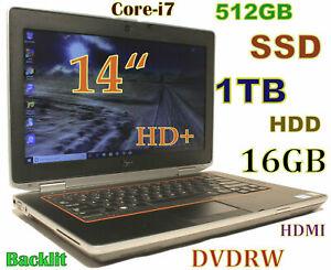 """DELL Latitude E6420 Core-i7 (512GB SSD + 1TB HDD) DVDRW 16GB Backlit 14"""""""