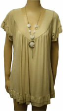 Womens Plus Size Frill Necklace Gypsy Ladies Tunic Short Sleeve Long V Neck Tops UK Size 30 Beige