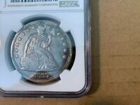 "1869 Seated Liberty Silver Dollar $1 NGC Graded ""AU DETAILS PLUGGED"""