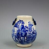 Antique Painting Figure Blue And White Porcelain Deer-head Ear Zun,Qing Dynasty