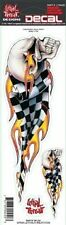 LETHAL THREAT Motorcycle Helmet Decal Sticker Checkered Skull RIGHT BC20104 T