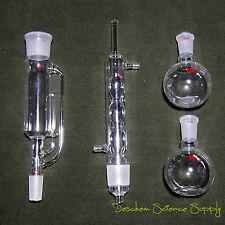 250ml,24/40,Glass soxhlet extractor body & Allihn condenser,2 Flat Bottom Flasks