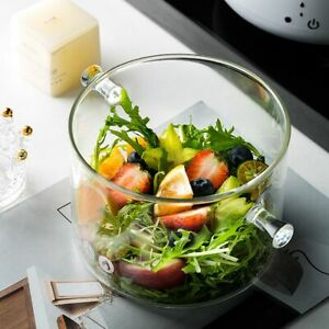Transparent Glass Soup Pot Household 1Pc Kitchen Vegetable  Salad Bowl Thickened