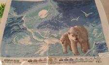 POLAR ICE BEAR   CROSS STITCH PATTERN ON CANVAS IS 14 ct ANCHOR THREADS )