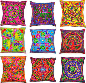 """Zip Cushion Cover 16x16"""" 40cm Indian MultiColour Embroidery Tapestry Animal Bird"""