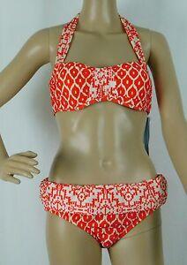 NWT Antonio Melani Bandeau Geo Orange Bikini Swimsuit Size S top, M bottom