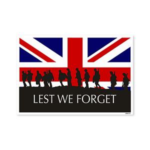 Lest we Forget Union Jack Flag sticker, Remembrance Sunday, Armistice Day, Anzac
