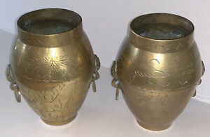 """Vintage Pair Brass Vases 2 Lion Head Door Knocker Rings Urns Jars 5.5"""" T"""