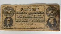 Confederate States Of America Will Pay $1,000 No. 297 Novelty Bill 1861 Bookmark
