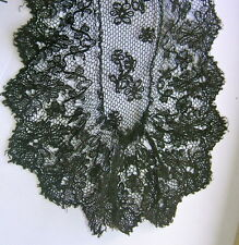 """ANTIQUE HANDMADE VICTORIAN BLACK TAMBOUR NET LACE LAPPET DELICATE & AIRY 1YD 32"""""""