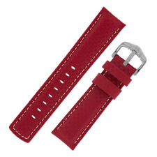 Hirsch Carbono parche de cuero en relieve en y Goma Reloj Correa de resistente al agua en Rojo