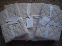 POTTERY BARN Belgian Linen Diamond Full/Queen Quilt & 2 Stand Shams NEW- Natural