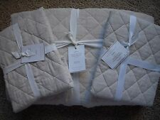 POTTERY BARN Belgian Linen Diamond Full/Queen Quilt & 2 Stand Shams NEW- Natural