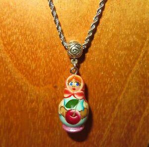 Matryoshka Pendant Red Light Blue Girl & Cherry Nesting Russian Doll hand made