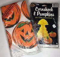 Vintage Lot NEW Halloween Decorations Tablecloth Centerpiece Beistle Honeycomb
