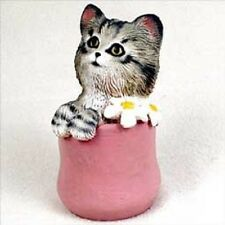 My Kitty Playful In A Pink Flower Pot cat kitten Hand Painted Figurine Resin New