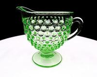 "LIBERTY WORKS DEPRESSION VASELINE GLASS AMERICAN PIONEER GREEN 4"" CREAMER"
