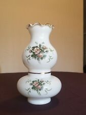 """VINTAGE MILK GLASS """"ROSES"""" SCONCE HURRICANE/STUDENT PARLOR OIL LAMP SHADE"""