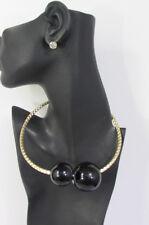 New Women Gold Metal Choker Fashion Necklace Big Black / White Balls + Earrings