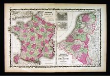 1860 Johnson Map - Holland Belgium Amsterdam Brussells France Paris Netherlands