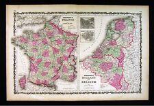 1860 Johnson Map - Holland Belgium Amsterdam Brussells France Paris Netherlands