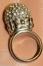 BETSEY JOHNSON Disco Ball Crystal Rhinestone Silver Bow Big Round Statement Ring