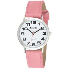 Ravel Ladies Jumbo White Dial & Pink Strap Watch R0105.13.15A