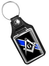 Thin Blue Line Freemason Square and Compass Mason's Faux Leather Key Ring