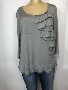 Chico's Grey Stretch Ruffle 3/4 Sleeve Tee Shirt Womens Size 2, L Casual Top