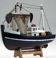 Deep Navy 18 cm Trawler Fishing Boat Model Ornament