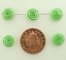 35 green/white lampwork flat disc beads for jewellery making size (mm) 10
