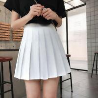 Women's High Waist A Line Skater Mini Skirt Flared Pleated Short Skirt Dress New