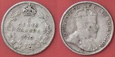 Fine 1910 Canada Pointed Leaves Silver 5 Cents