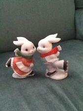 Homco Scating Rabbits Boy And Girl #5305