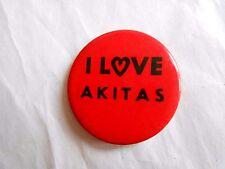 Vintage I Love Akitas Dog Breed Pinback Button