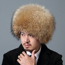 Men's Winter Full Covered Full Real Fox Fur Hats Russian Raccoon Fur Bomber Hat