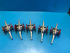 Old Vtg Collectible Antique Lot Of 5 Small Lead Military Cannons With Red Wheels