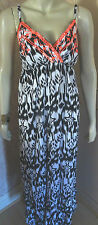 SOUTH EMBROIDERED BLACK/WHITE MAXI DRESS SZE, 12 AND 14 CLEARANCE