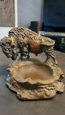 ARMOR BRONZE CLAD BUFFALO BISON STATUE ASHTRAY 1928 Missing one horn
