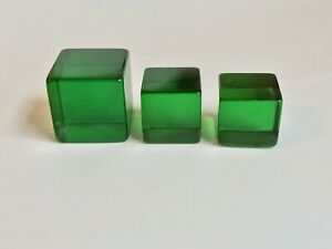 Bakelite Very Large 31mm & Two Large 25mm Clear Green Dice Cubes