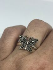 Vintage Butterfly Ring Real Marcasite 925 Sterling Silver Size 6.75