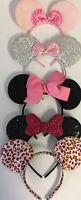 Lot of 5 - Disney Mickey Mouse Minnie Ears Headband Glitter Bling Pink Bows EUC
