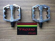 "Platform Alloy Bike Pedals Prozio 9/16"" Silver Bicycle City Fixie Mountain BMX"