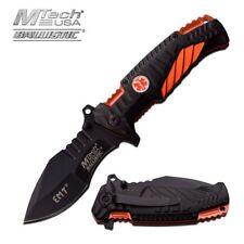 Spring-Assisted Folding Pocket Knife Mtech Black Orange Emt Paramedic Tactical