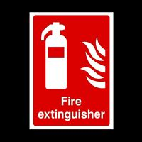 Fire Extinguisher Rigid Plastic Sign OR Sticker - All Sizes A6 A5 A4 (FE11)