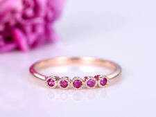 1Ct Round Cut Simulant Red Ruby Engagement 5Stone Ring Band Silver Rose Gold Fns