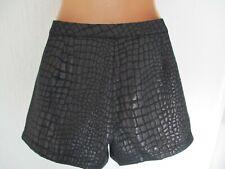 "BNWT VILA Black Charcoal Shimmery Shorts Reptile Skin design - S Waist 28-30"" 10"