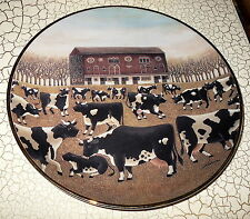 Spring Pasture Herrero Franklin Mint Cows Farm Country Wall Plate Folk Art