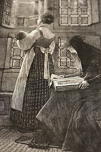 Sunday Morning in Castle L. ALMA TADEMA Dutch 1878 Large Folio Print w STORY